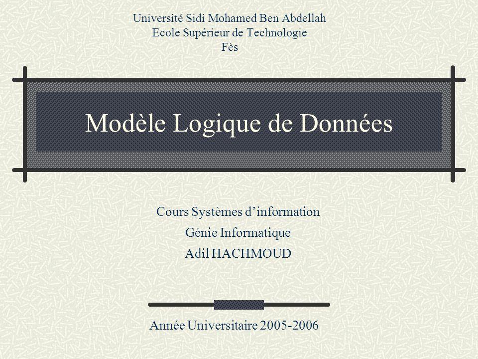 Modèle Logique de Données Université Sidi Mohamed Ben Abdellah Ecole Supérieur de Technologie Fès Année Universitaire 2005-2006 Cours Systèmes dinform