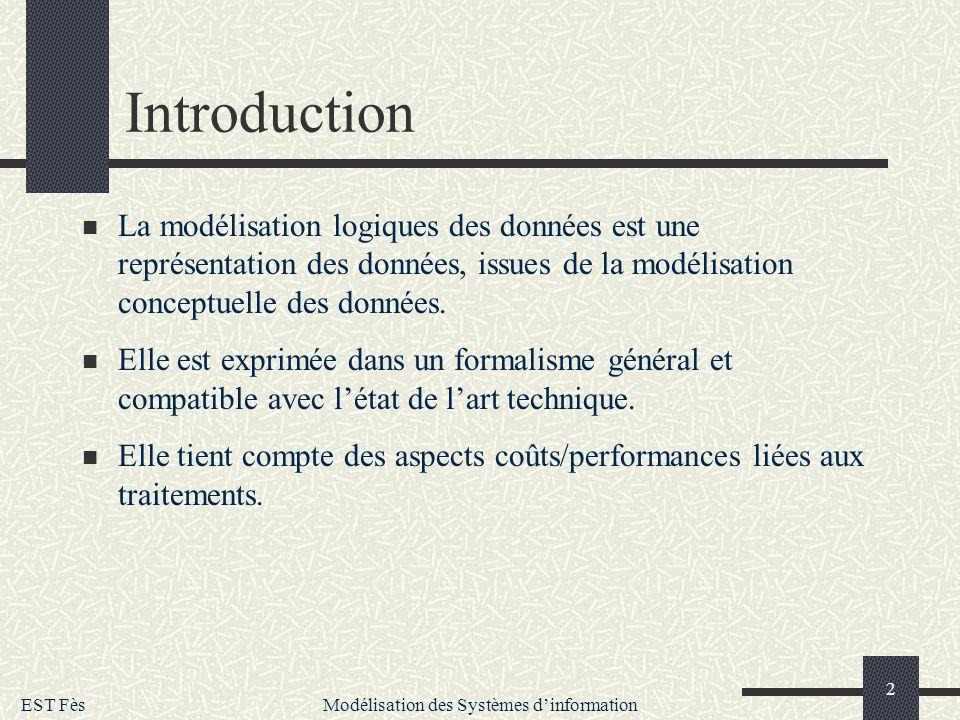 EST Fès Modélisation des Systèmes dinformation 2 Introduction La modélisation logiques des données est une représentation des données, issues de la mo