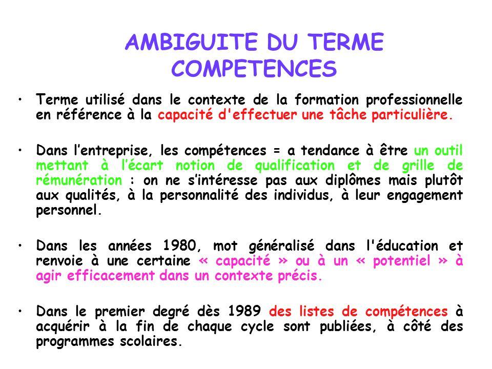 AMBIGUITE DU TERME COMPETENCES Terme utilisé dans le contexte de la formation professionnelle en référence à la capacité d'effectuer une tâche particu