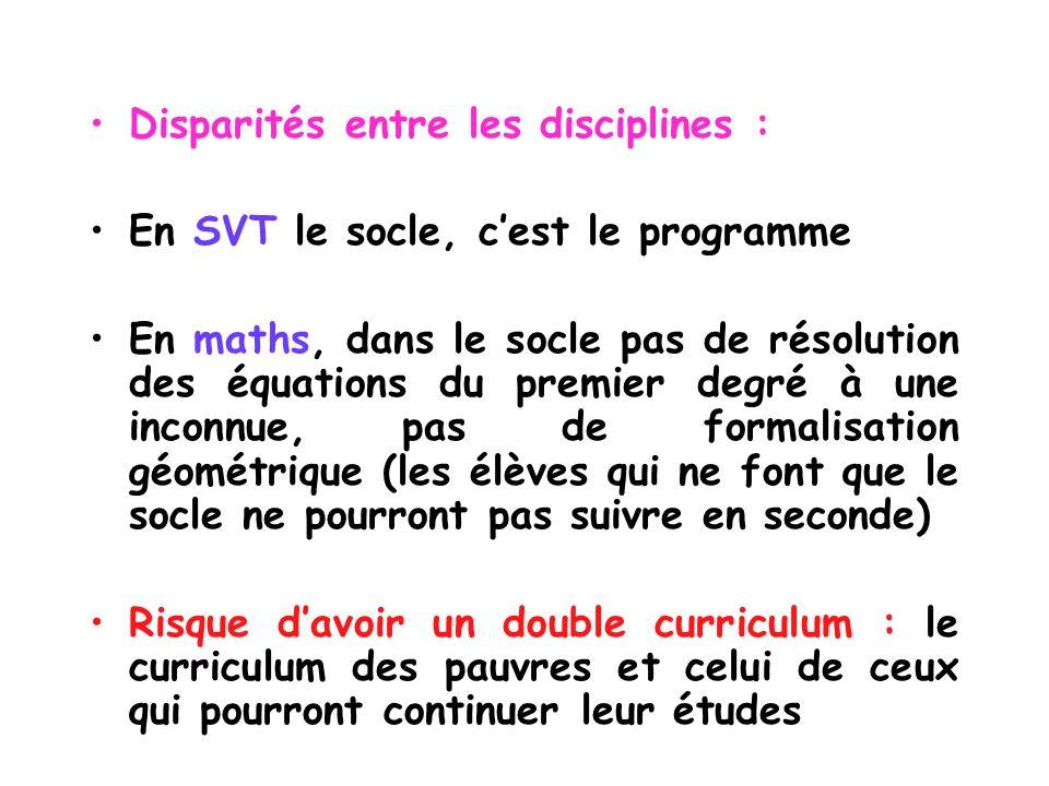 Disparités entre les disciplines : En SVT le socle, cest le programme En maths, dans le socle pas de résolution des équations du premier degré à une i