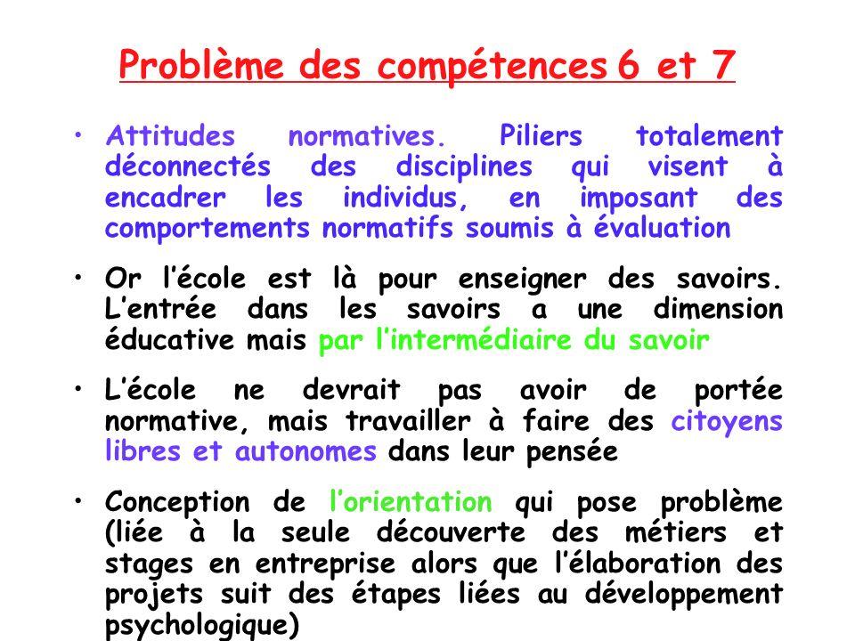 Problème des compétences 6 et 7 Attitudes normatives. Piliers totalement déconnectés des disciplines qui visent à encadrer les individus, en imposant