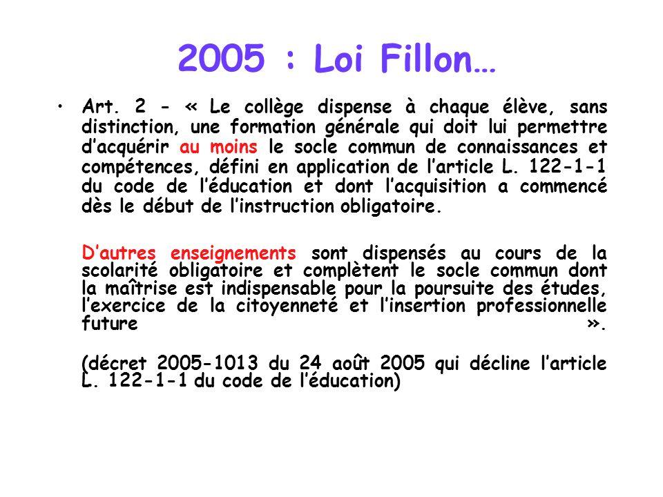 2005 : Loi Fillon… Art. 2 - « Le collège dispense à chaque élève, sans distinction, une formation générale qui doit lui permettre dacquérir au moins l