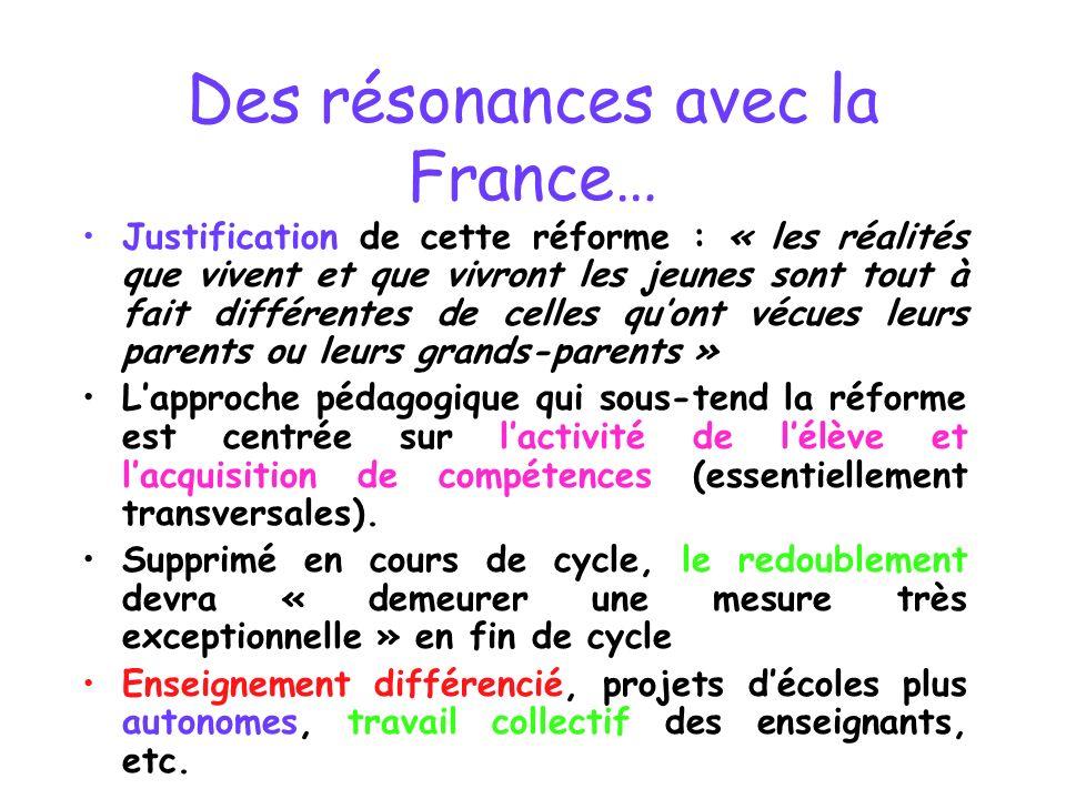 Des résonances avec la France… Justification de cette réforme : « les réalités que vivent et que vivront les jeunes sont tout à fait différentes de ce