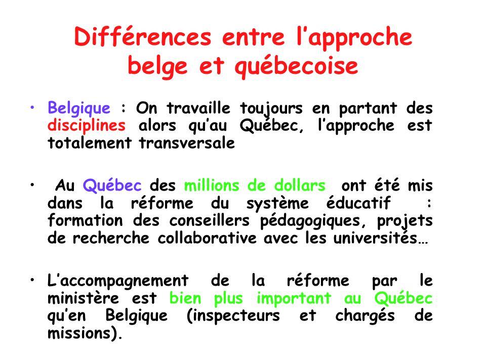 Différences entre lapproche belge et québecoise Belgique : On travaille toujours en partant des disciplines alors quau Québec, lapproche est totalemen