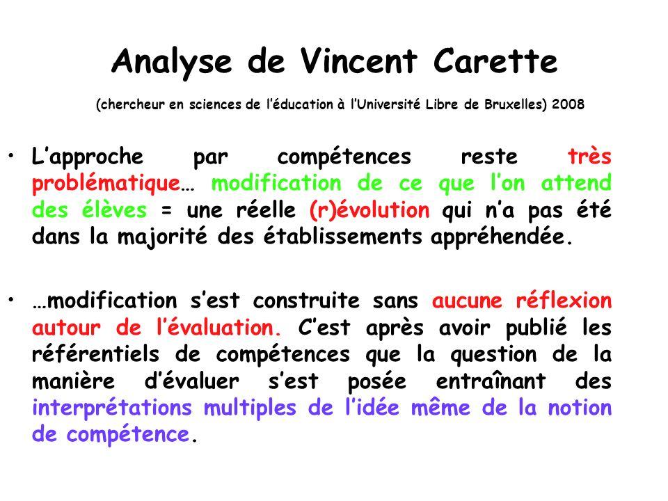 Analyse de Vincent Carette (chercheur en sciences de léducation à lUniversité Libre de Bruxelles) 2008 Lapproche par compétences reste très problémati
