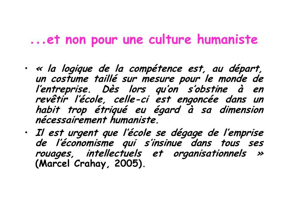 … et non pour une culture humaniste « la logique de la compétence est, au départ, un costume taillé sur mesure pour le monde de lentreprise. Dès lors