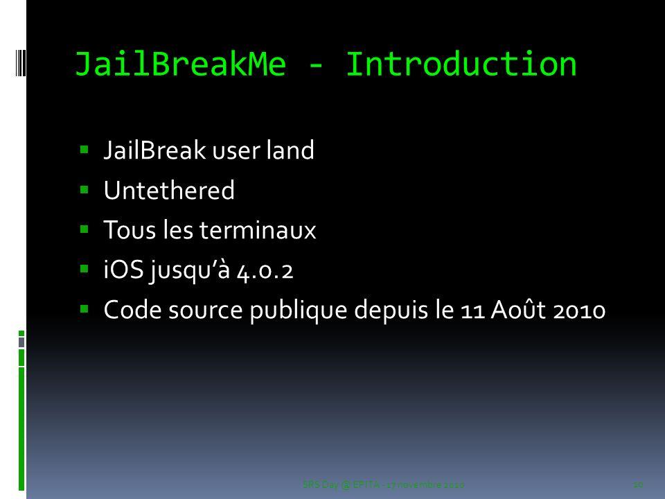 JailBreakMe - Introduction JailBreak user land Untethered Tous les terminaux iOS jusquà 4.0.2 Code source publique depuis le 11 Août 2010 SRS Day @ EPITA - 17 novembre 2010 10