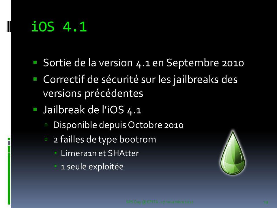 iOS 4.1 Sortie de la version 4.1 en Septembre 2010 Correctif de sécurité sur les jailbreaks des versions précédentes Jailbreak de liOS 4.1 Disponible depuis Octobre 2010 2 failles de type bootrom Limera1n et SHAtter 1 seule exploitée SRS Day @ EPITA - 17 novembre 2010 19