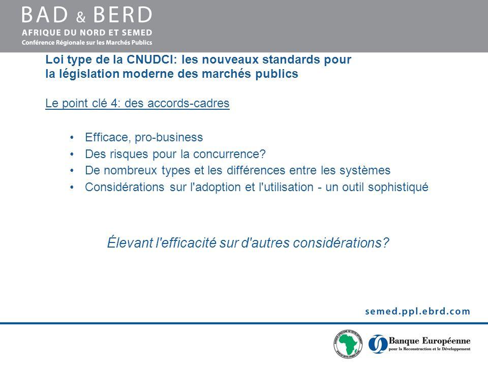 Loi type de la CNUDCI: les nouveaux standards pour la législation moderne des marchés publics Le point clé 4: des accords-cadres Efficace, pro-business Des risques pour la concurrence.