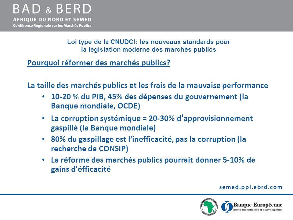 Loi type de la CNUDCI: les nouveaux standards pour la législation moderne des marchés publics Pourquoi réformer des marchés publics.