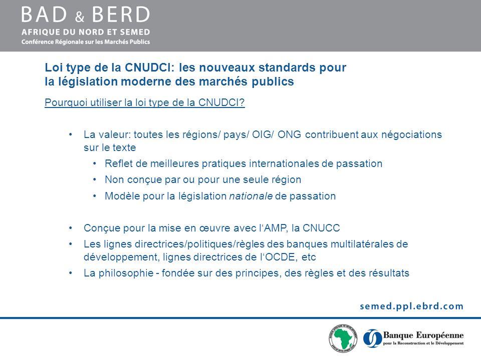 Loi type de la CNUDCI: les nouveaux standards pour la législation moderne des marchés publics Pourquoi utiliser la loi type de la CNUDCI.