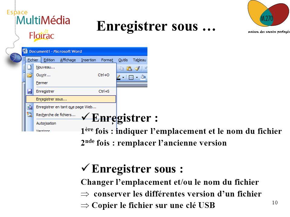 10 Enregistrer sous … Enregistrer : 1 ère fois : indiquer lemplacement et le nom du fichier 2 nde fois : remplacer lancienne version Enregistrer sous