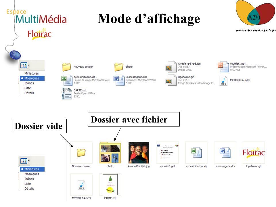 17 Mode daffichage Dossier vide Dossier avec fichier
