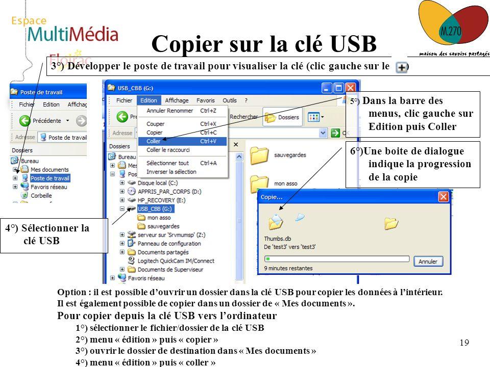 19 Copier sur la clé USB 3°) Développer le poste de travail pour visualiser la clé (clic gauche sur le ) 4°) Sélectionner la clé USB 5°) Dans la barre