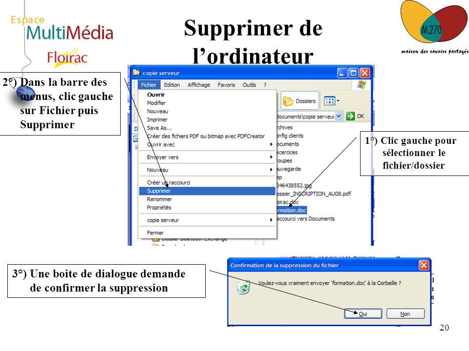 20 Supprimer de lordinateur 2°) Dans la barre des menus, clic gauche sur Fichier puis Supprimer 1°) Clic gauche pour sélectionner le fichier/dossier 3