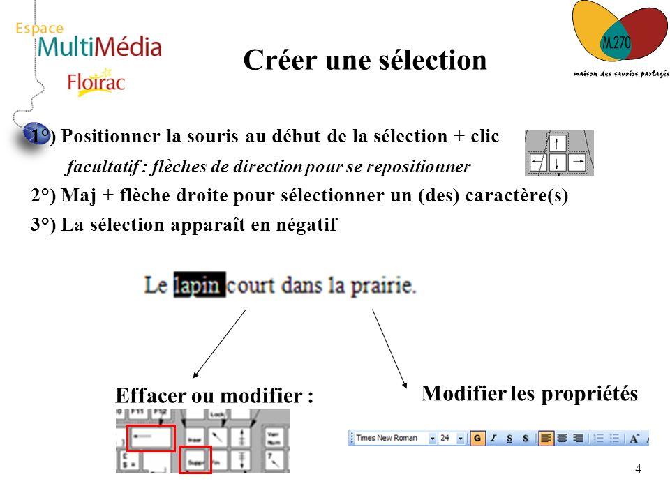 4 1°) Positionner la souris au début de la sélection + clic facultatif : flèches de direction pour se repositionner 2°) Maj + flèche droite pour sélec