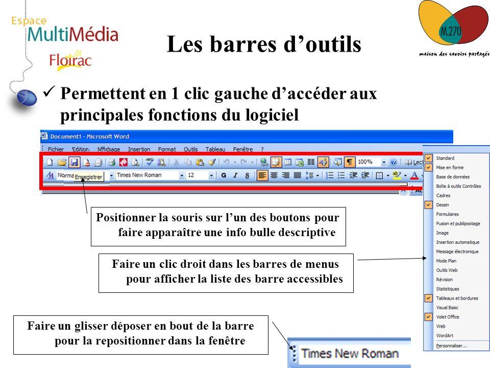7 Les barres doutils Permettent en 1 clic gauche daccéder aux principales fonctions du logiciel Positionner la souris sur lun des boutons pour faire a