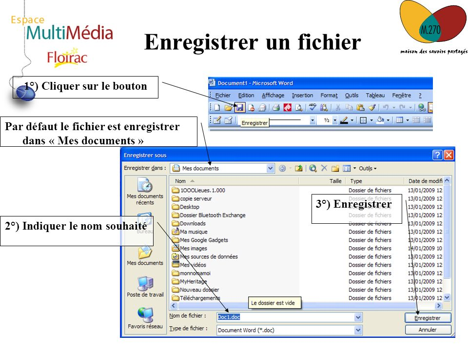 9 Enregistrer un fichier 1°) Cliquer sur le bouton Par défaut le fichier est enregistrer dans « Mes documents » 2°) Indiquer le nom souhaité 3°) Enreg