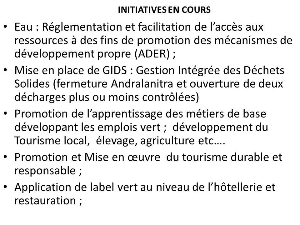 INITIATIVES EN COURS Eau : Réglementation et facilitation de laccès aux ressources à des fins de promotion des mécanismes de développement propre (ADE