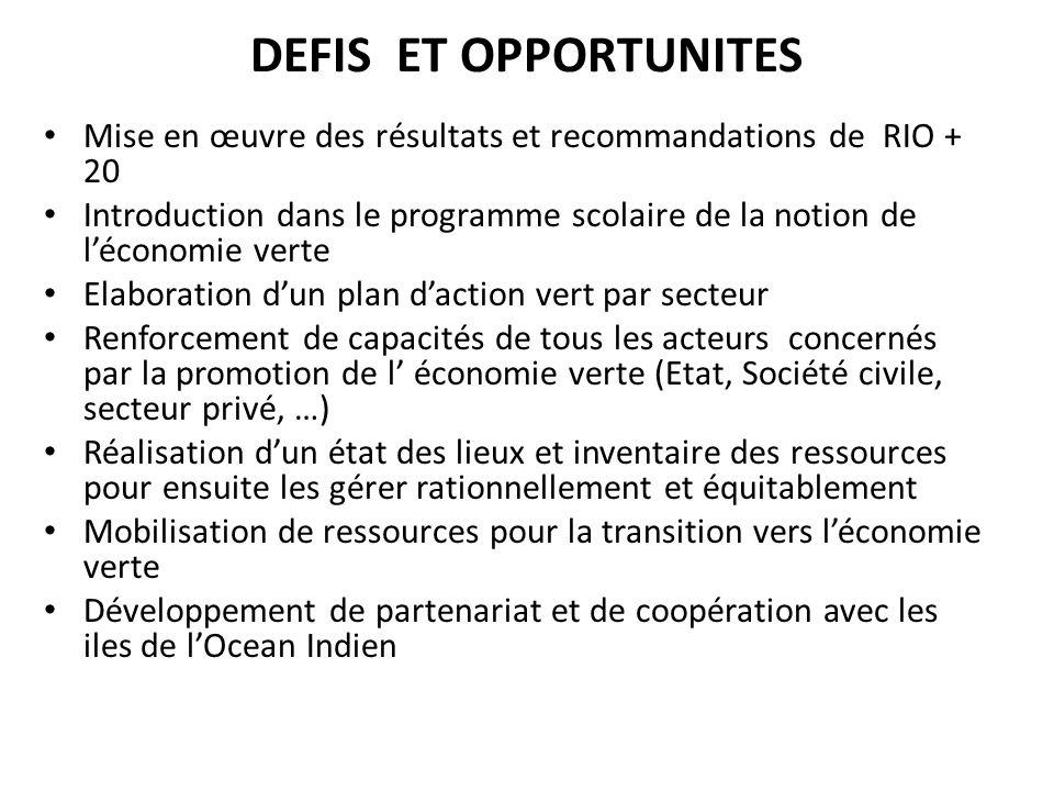 DEFIS ET OPPORTUNITES Mise en œuvre des résultats et recommandations de RIO + 20 Introduction dans le programme scolaire de la notion de léconomie ver