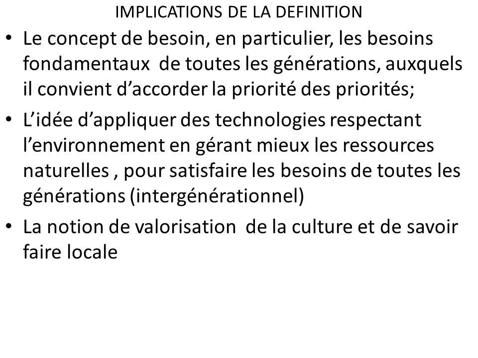 IMPLICATIONS DE LA DEFINITION Le concept de besoin, en particulier, les besoins fondamentaux de toutes les générations, auxquels il convient daccorder