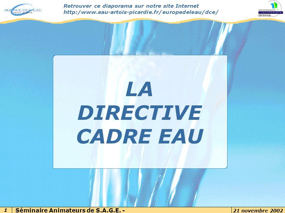 Par Agnès RAVEL – SAGE AUDOMAROIS 21 novembre 2002 1 7 novembre 2002 Retrouver ce diaporama sur notre site Internet http:/www.eau-artois-picardie.fr/e