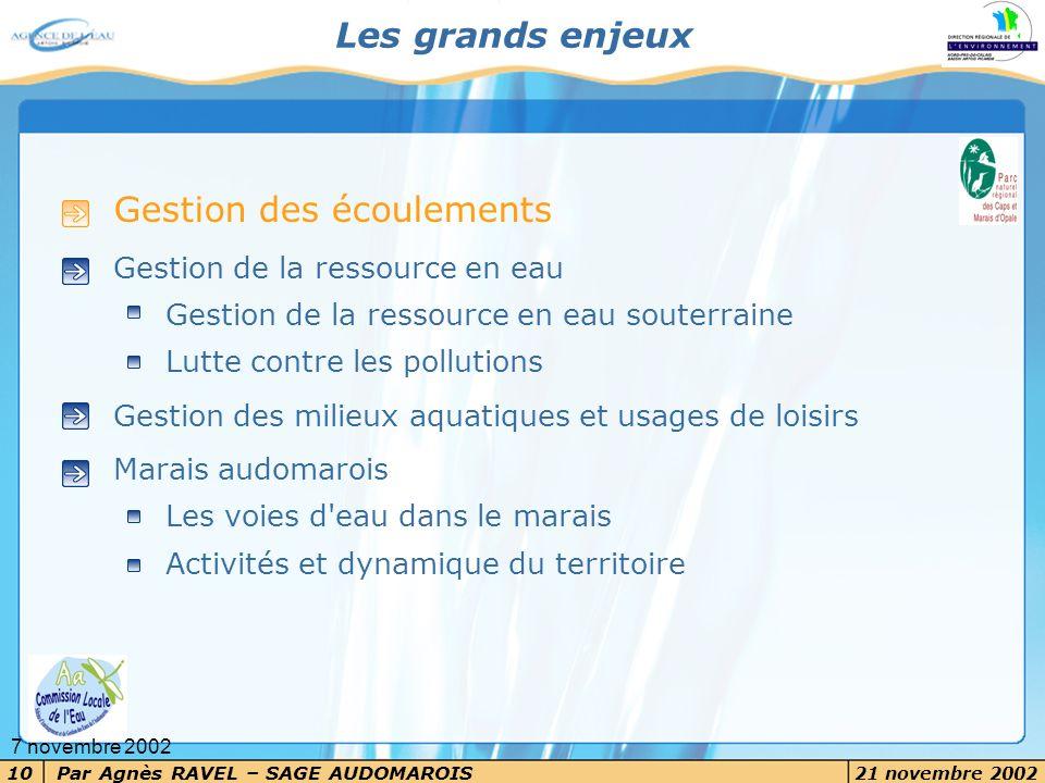Par Agnès RAVEL – SAGE AUDOMAROIS 21 novembre 2002 10 7 novembre 2002 Les grands enjeux Gestion des écoulements Gestion de la ressource en eau Gestion