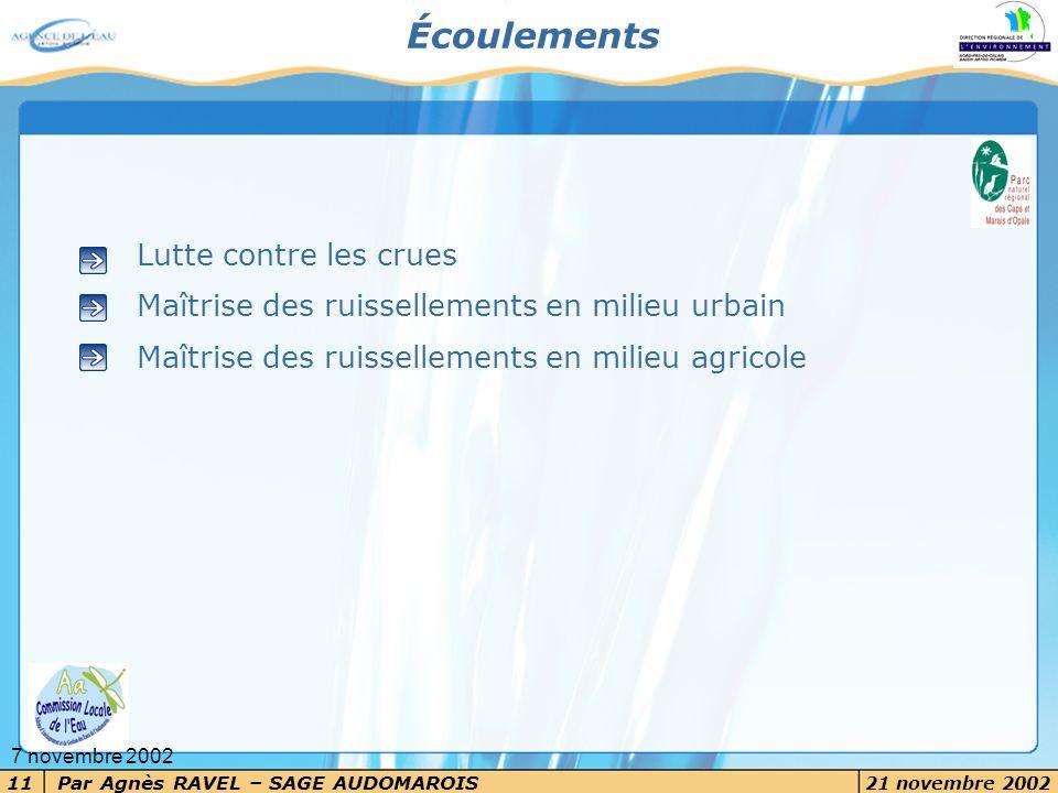 Par Agnès RAVEL – SAGE AUDOMAROIS 21 novembre 2002 11 7 novembre 2002 Écoulements Lutte contre les crues Maîtrise des ruissellements en milieu urbain