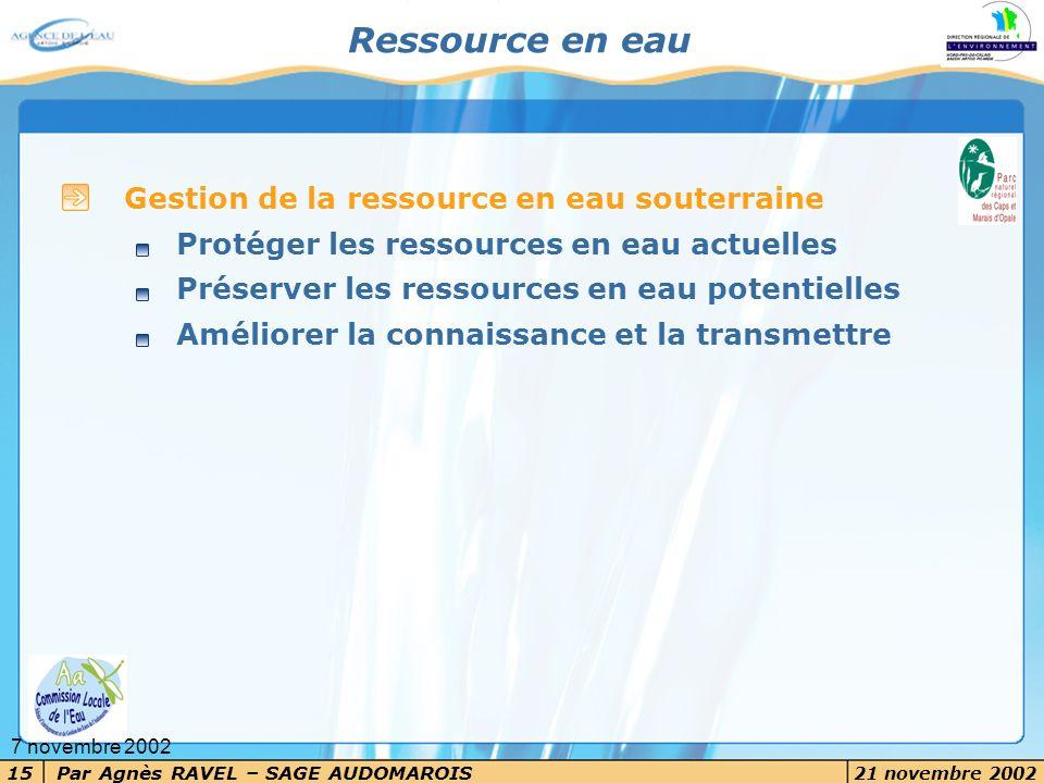 Par Agnès RAVEL – SAGE AUDOMAROIS 21 novembre 2002 15 7 novembre 2002 Ressource en eau Gestion de la ressource en eau souterraine Protéger les ressour