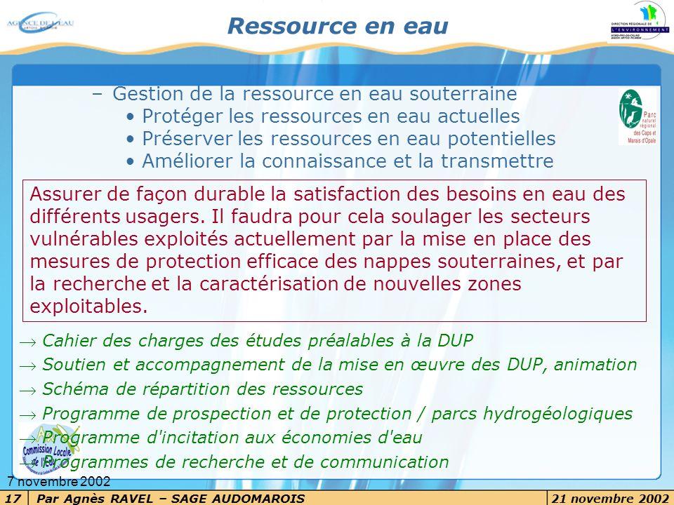 Par Agnès RAVEL – SAGE AUDOMAROIS 21 novembre 2002 17 7 novembre 2002 –Gestion de la ressource en eau souterraine Protéger les ressources en eau actue