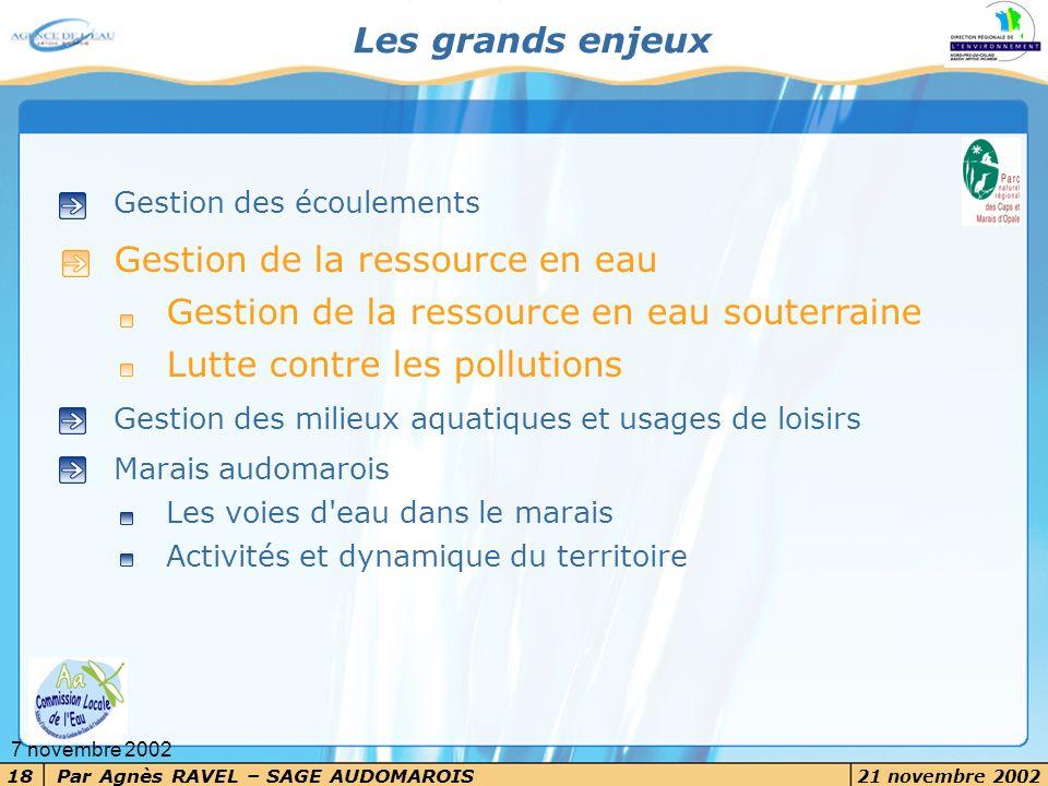 Par Agnès RAVEL – SAGE AUDOMAROIS 21 novembre 2002 18 7 novembre 2002 Les grands enjeux Gestion des écoulements Gestion de la ressource en eau Gestion