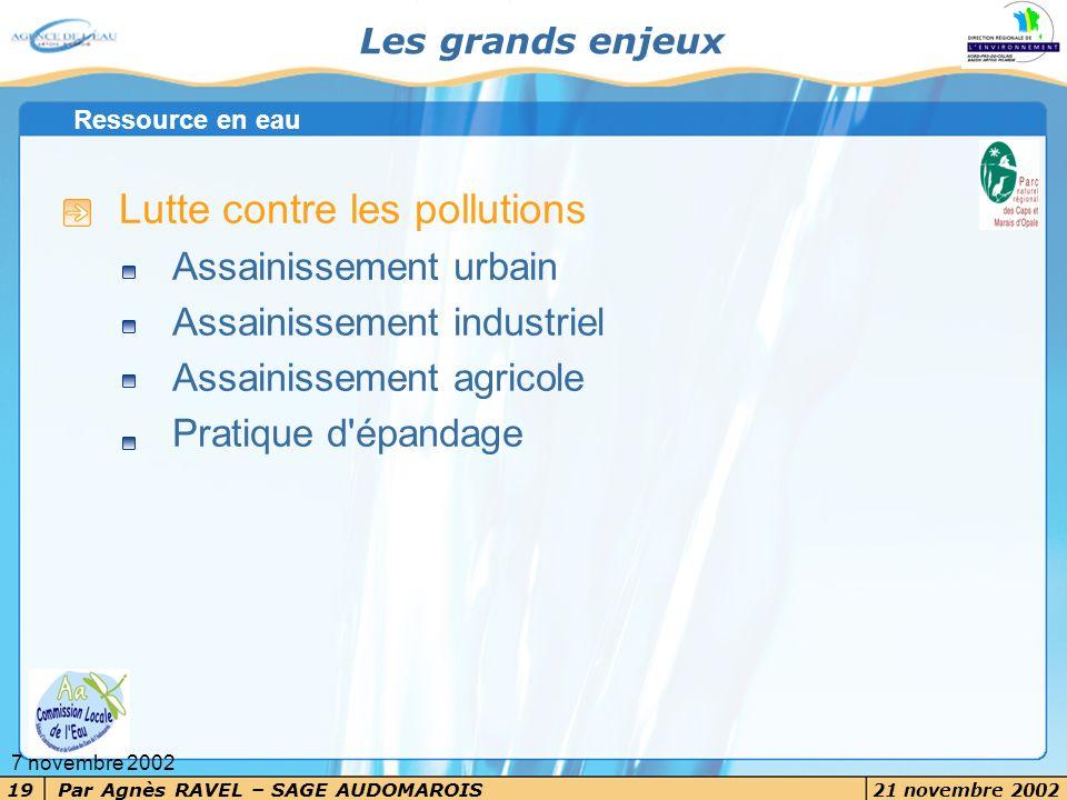 Par Agnès RAVEL – SAGE AUDOMAROIS 21 novembre 2002 19 7 novembre 2002 Les grands enjeux Lutte contre les pollutions Assainissement urbain Assainisseme