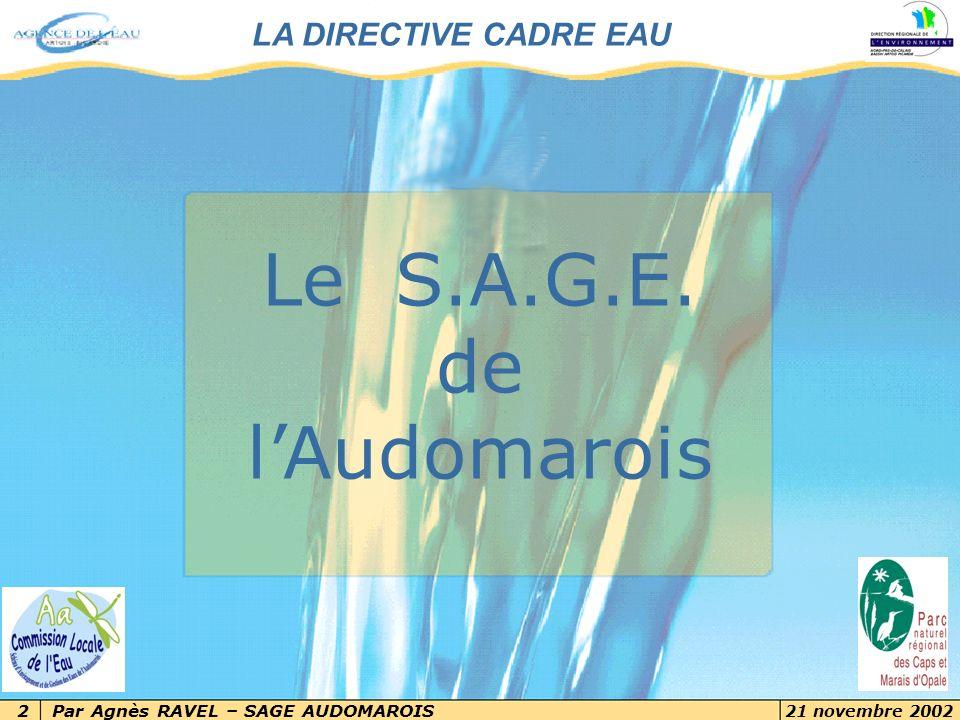 Par Agnès RAVEL – SAGE AUDOMAROIS 21 novembre 2002 2 7 novembre 2002 Les objectifs de la Directive Cadre Eau 2Par Delphine Martin, chef de projet DCE