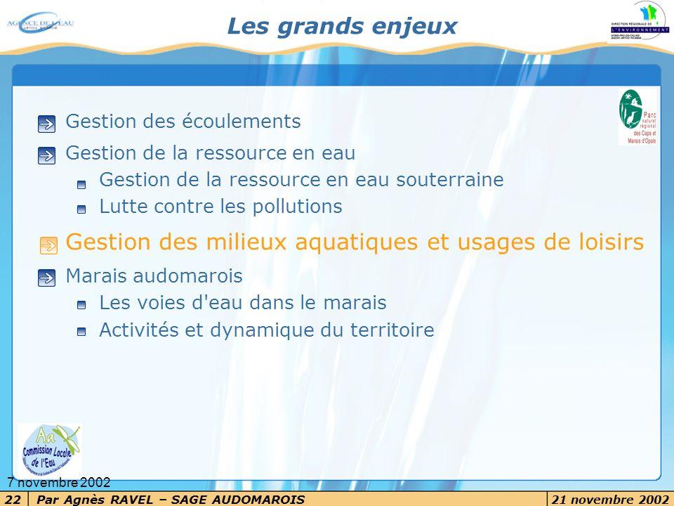 Par Agnès RAVEL – SAGE AUDOMAROIS 21 novembre 2002 22 7 novembre 2002 Les grands enjeux Gestion des écoulements Gestion de la ressource en eau Gestion