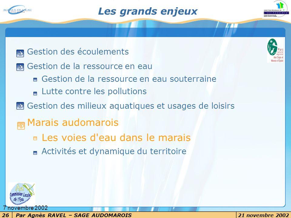 Par Agnès RAVEL – SAGE AUDOMAROIS 21 novembre 2002 26 7 novembre 2002 Les grands enjeux Gestion des écoulements Gestion de la ressource en eau Gestion