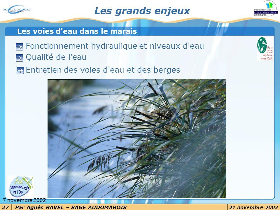 Par Agnès RAVEL – SAGE AUDOMAROIS 21 novembre 2002 27 7 novembre 2002 Les grands enjeux Fonctionnement hydraulique et niveaux d'eau Qualité de l'eau E