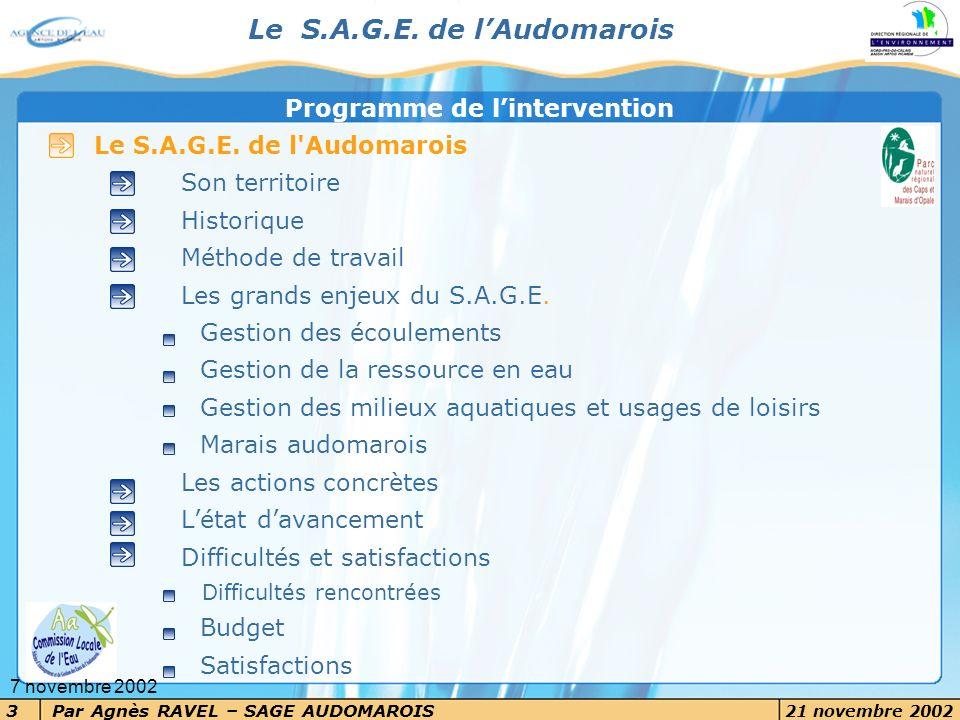 3 7 novembre 2002 Le S.A.G.E. de l'Audomarois Son territoire Historique Méthode de travail Les grands enjeux du S.A.G.E. Gestion des écoulements Gesti