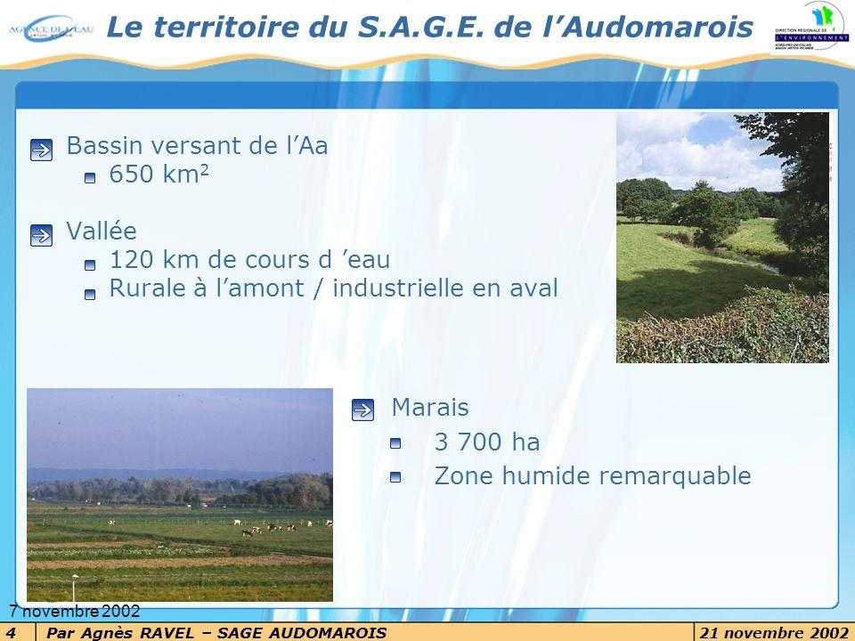 Par Agnès RAVEL – SAGE AUDOMAROIS 21 novembre 2002 4 7 novembre 2002 Bassin versant de lAa 650 km 2 Vallée 120 km de cours d eau Rurale à lamont / ind