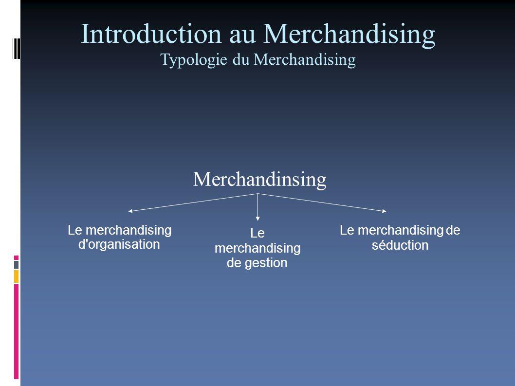 Introduction au Merchandising Rôle et importance du Merchandising Rôle du merchandising: - mieux écouler la marchandise en améliorant son exposition dans les rayons; - améliorer son étiquetage; - adapter lassortiment à la demande des consommateurs; - rationaliser la gestion (rentabilité, stock ).