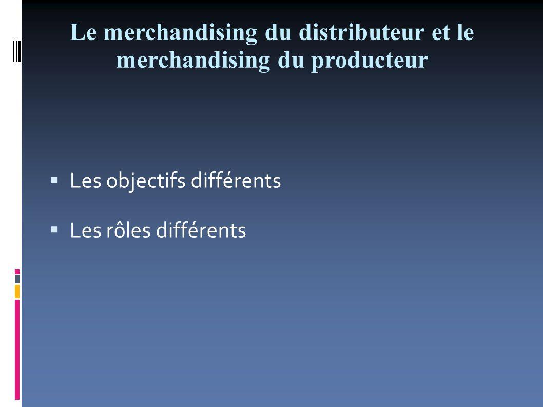 Le merchandising du distributeur et le merchandising du producteur Les objectifs différents Objectifs Producteur maximiser le volume des ses ventes aux dépens de celles des produits concurrents.