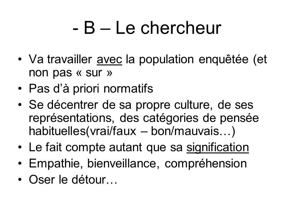 - B – Le chercheur Va travailler avec la population enquêtée (et non pas « sur » Pas dà priori normatifs Se décentrer de sa propre culture, de ses rep