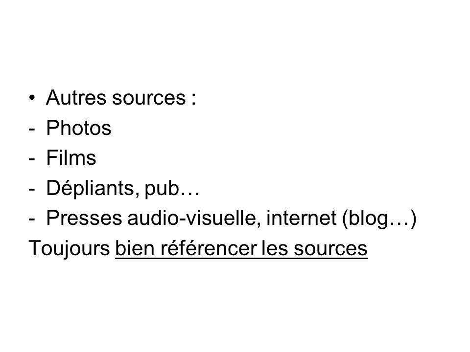 Autres sources : -Photos -Films -Dépliants, pub… -Presses audio-visuelle, internet (blog…) Toujours bien référencer les sources