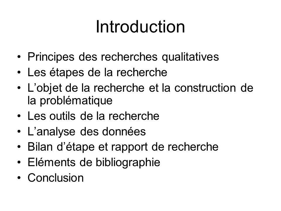 Introduction Principes des recherches qualitatives Les étapes de la recherche Lobjet de la recherche et la construction de la problématique Les outils