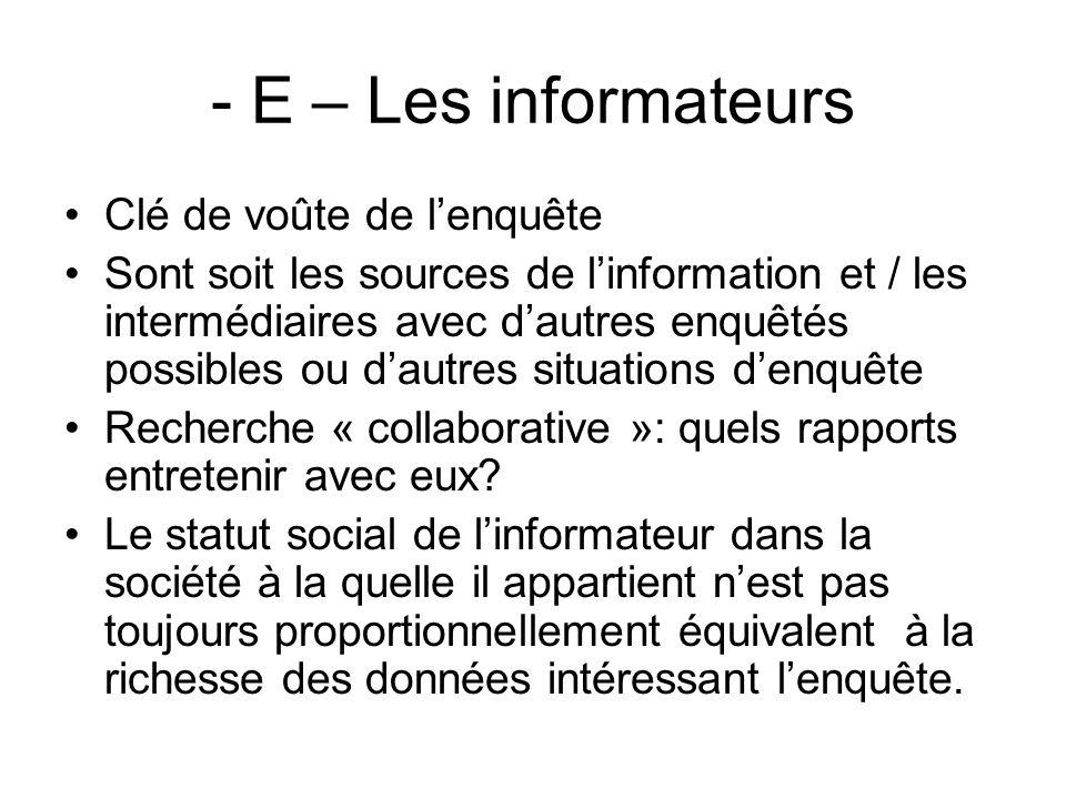 - E – Les informateurs Clé de voûte de lenquête Sont soit les sources de linformation et / les intermédiaires avec dautres enquêtés possibles ou dautr