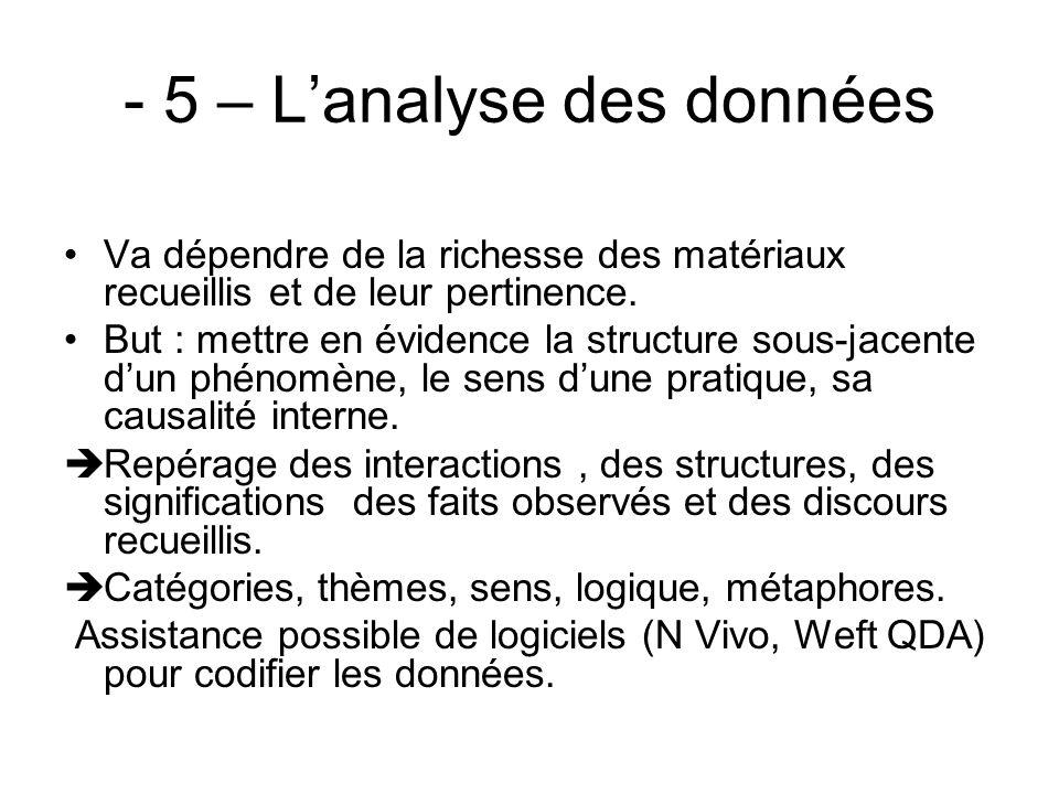 - 5 – Lanalyse des données Va dépendre de la richesse des matériaux recueillis et de leur pertinence. But : mettre en évidence la structure sous-jacen