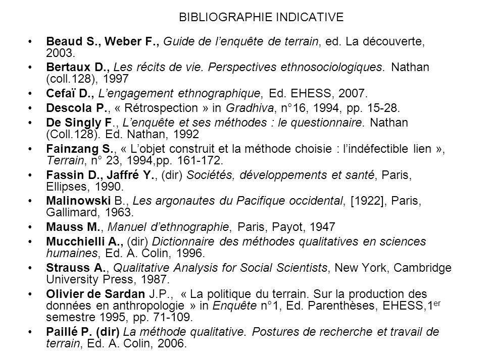 BIBLIOGRAPHIE INDICATIVE Beaud S., Weber F., Guide de lenquête de terrain, ed. La découverte, 2003. Bertaux D., Les récits de vie. Perspectives ethnos