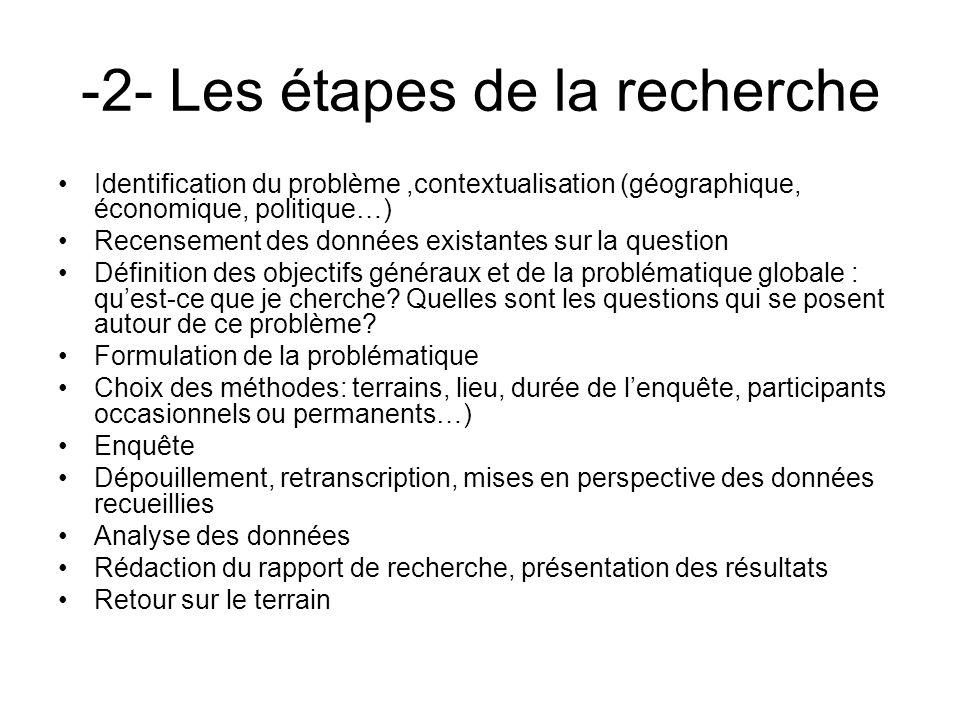 -2- Les étapes de la recherche Identification du problème,contextualisation (géographique, économique, politique…) Recensement des données existantes