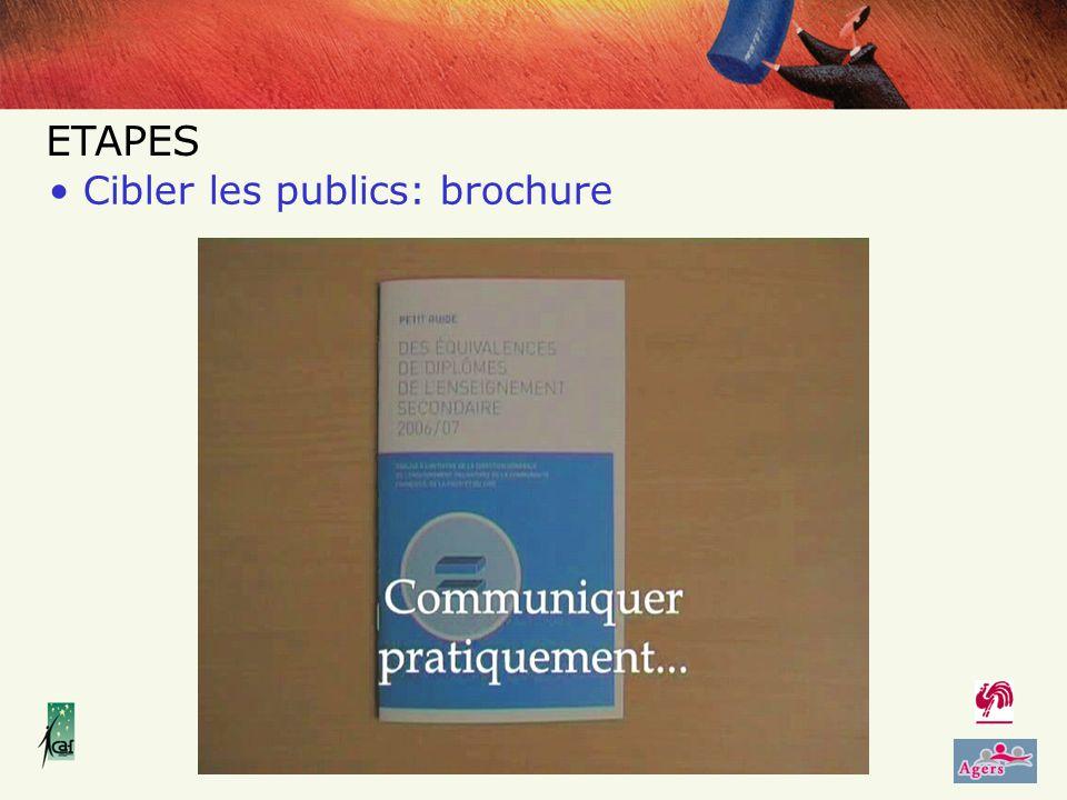 Cibler les publics: brochure ETAPES