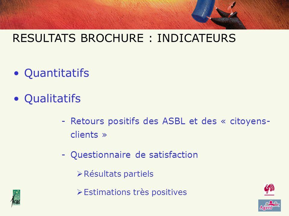 Quantitatifs Qualitatifs -Retours positifs des ASBL et des « citoyens- clients » -Questionnaire de satisfaction Résultats partiels Estimations très positives RESULTATS BROCHURE : INDICATEURS