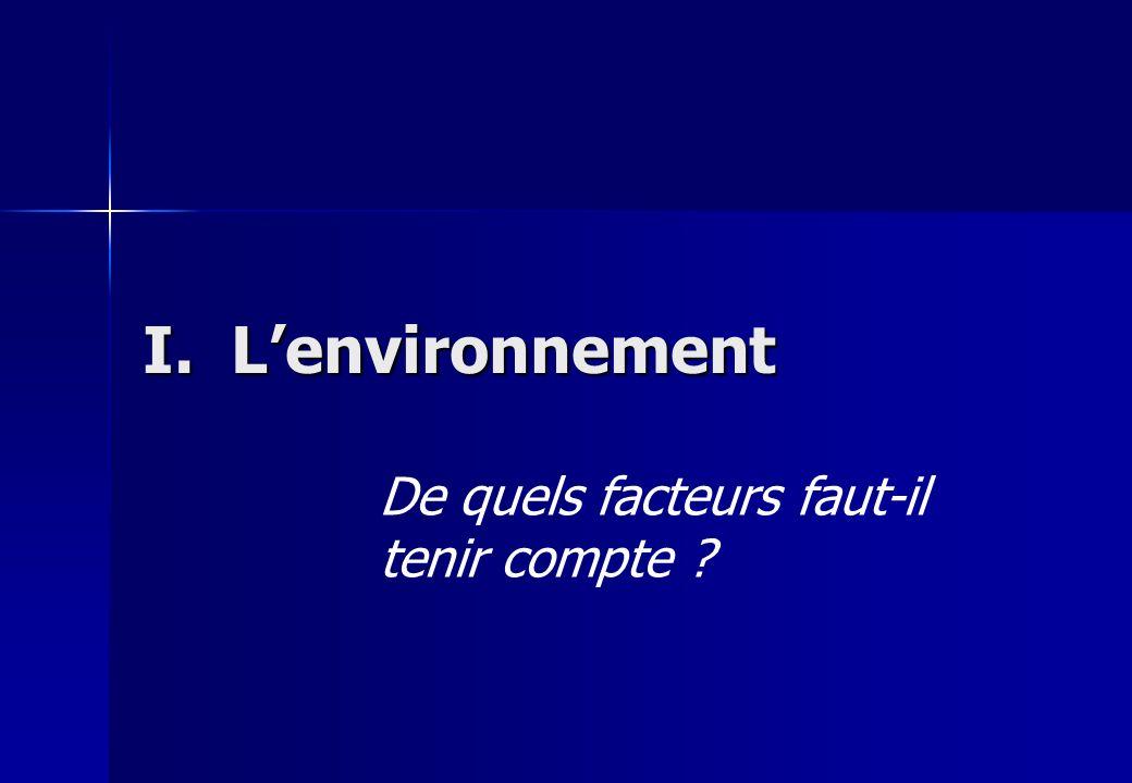 I. Lenvironnement De quels facteurs faut-il tenir compte ?
